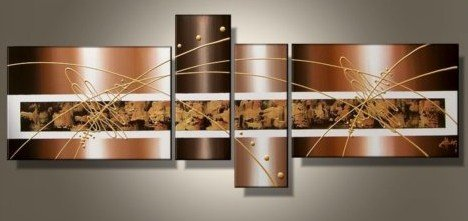 "Wieco Art 4-Piece ""Brown Clouds"" Hand-Painted Modern Abstract Oil Paintings on Canvas Wall Art Set"