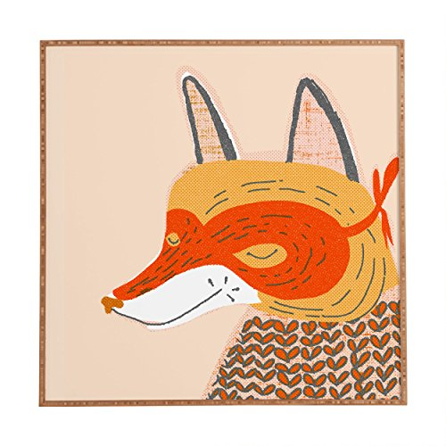 DENY Designs Mummysam,  Mr Fox, Framed Wall Art, Small, 12″x 12″