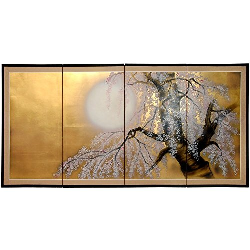 Oriental Furniture 36″ Gold Leaf Sakura Blossom