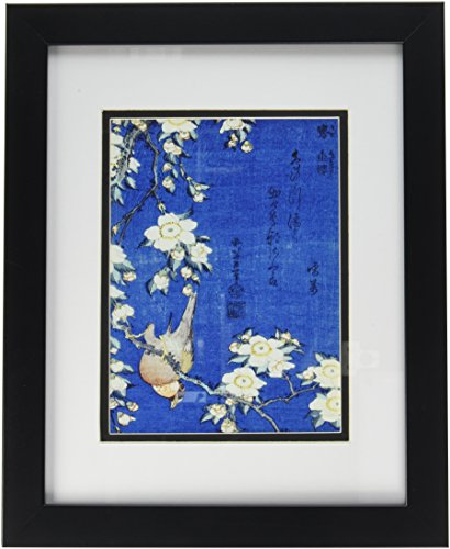 buyartforless IF EBN1026 14×11 glass Professionally Framed Bullfinch & Cherry Tree by Katsushika Hokusai 14X11 Art Poster Print Famous Japanese Artist Great Art