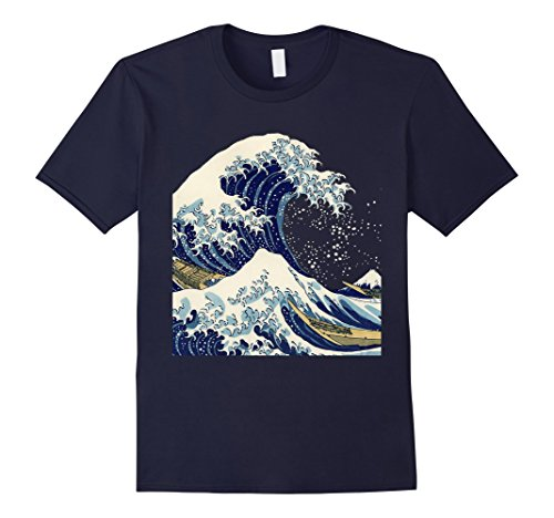 Mens The Great Wave off Kanagawa by Hokusai T Shirt Medium Navy